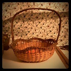 Vintage two toned wicker basket